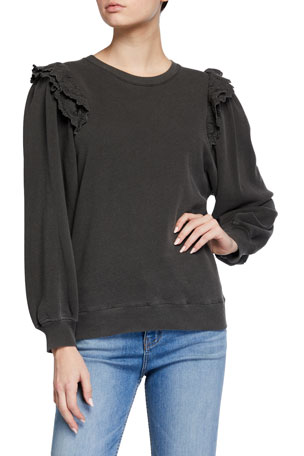 The Great The Eyelet Pleat Sleeve Sweatshirt