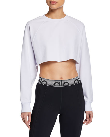 Image 1 of 2: Alo Yoga Double Take Raglan-Sleeve Cropped Sweatshirt