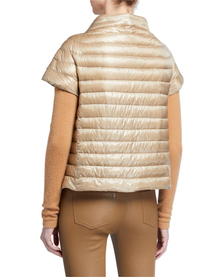 Image 3 of 3: Herno Short-Sleeve Button-Closure Down Jacket