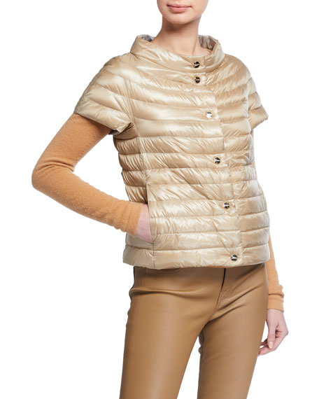 Image 1 of 3: Herno Short-Sleeve Button-Closure Down Jacket