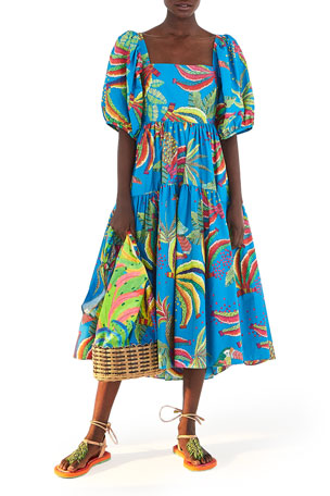 Farm Rio Blue Banana Midi Dress