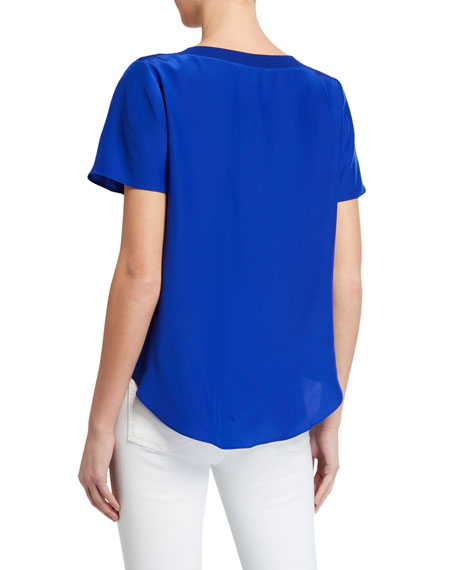 Image 2 of 2: Milly V-Neck Silk Tee with Knit Trim