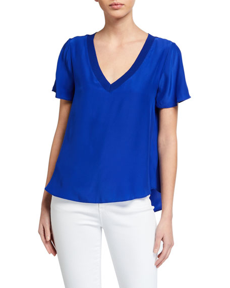 Image 1 of 2: Milly V-Neck Silk Tee with Knit Trim