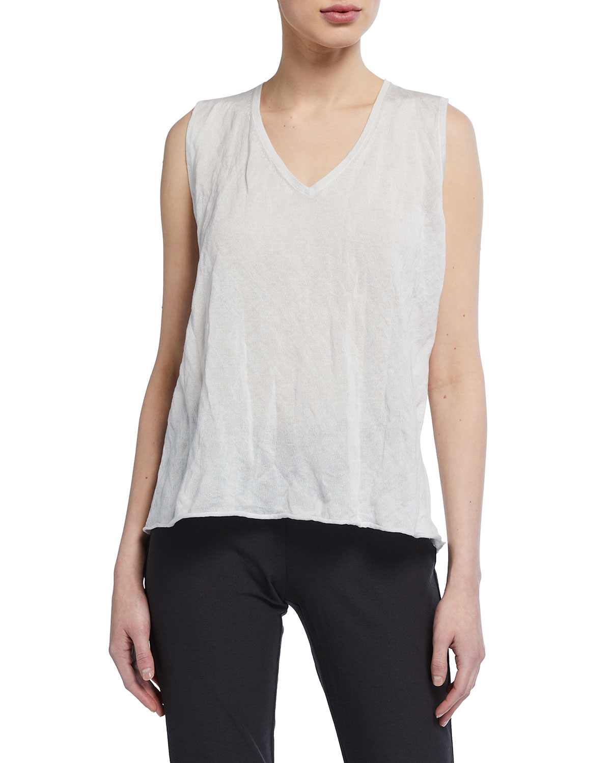 Eileen Fisher V-Neck Metal Shell