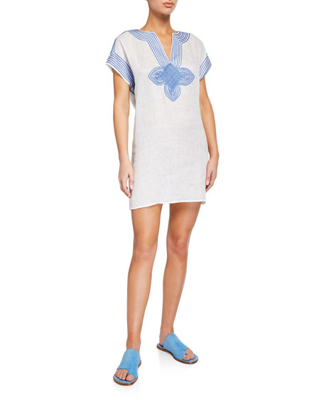 Image 1 of 2: Embroidered Linen Coverup Tunic