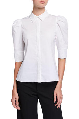 Alice + Olivia Willa Scrunched Puff-Sleeve Placket Top