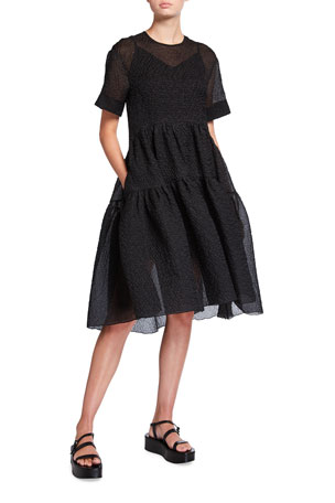Victoria Victoria Beckham Short-Sleeve Crinkle Cocoon Dress