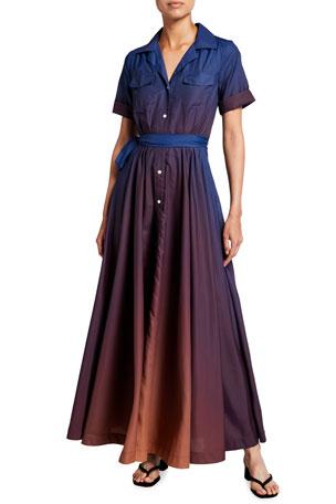 Staud Millie Long Ombre Shirtdress