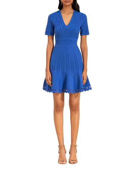 Image 1 of 2: Shoshanna Janice Scallop Textured Dress