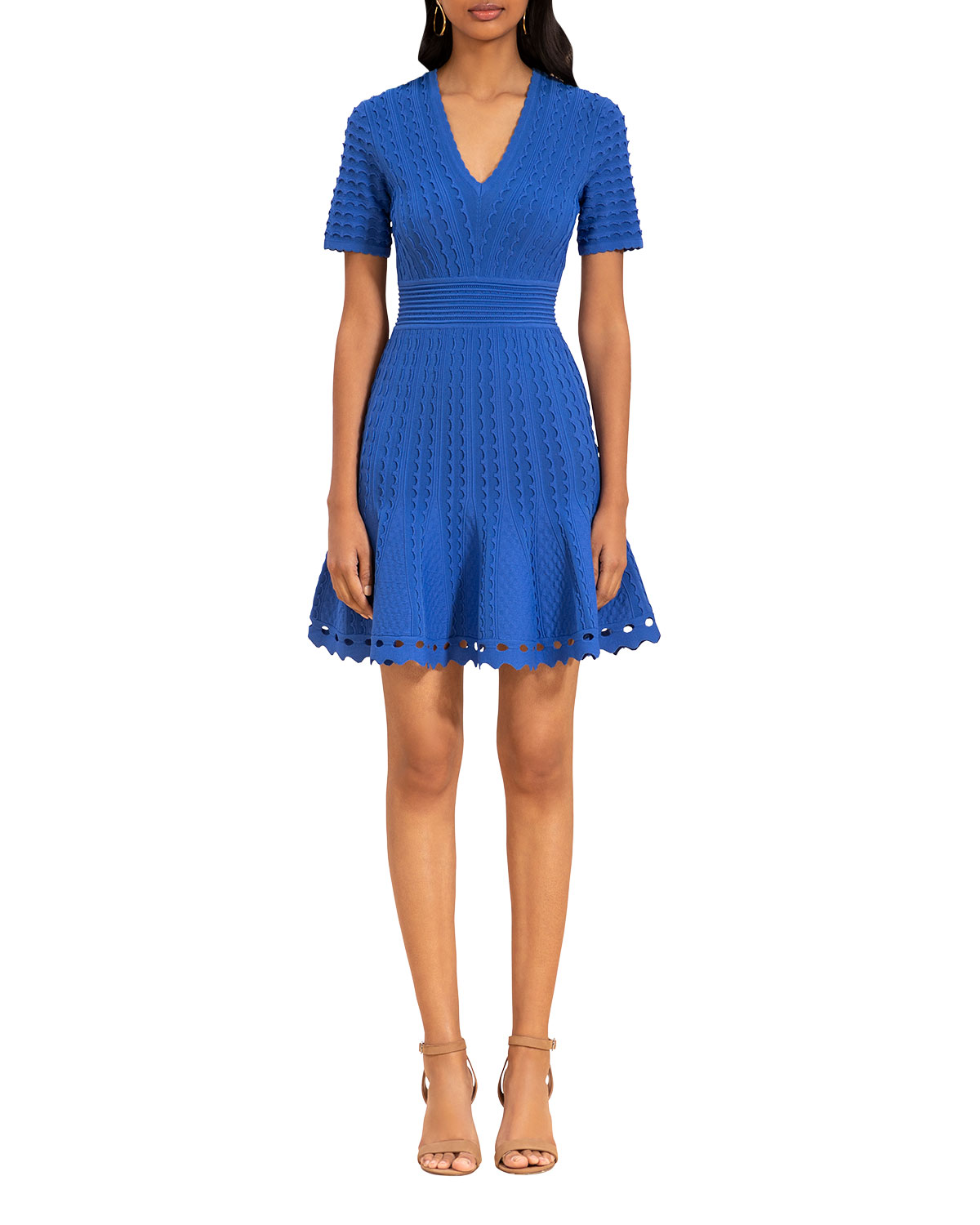 Shoshanna Janice Scallop Textured Dress