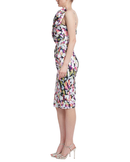 Image 2 of 3: Badgley Mischka Collection Bow Bustier Printed Sheath Dress
