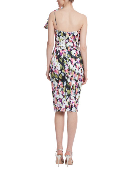 Image 3 of 3: Badgley Mischka Collection Bow Bustier Printed Sheath Dress