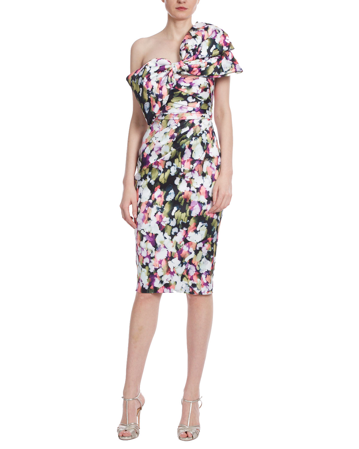 Badgley Mischka Collection Bow Bustier Printed Sheath Dress