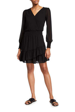 MICHAEL Michael Kors Smocked-Waist Solid Ruffle Dress