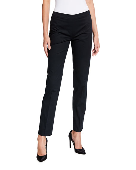 Image 1 of 3: Lafayette 148 New York Bleecker Side-Zip Stretch Cotton Ankle Pants