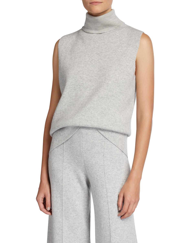 Cashmere Double Knit Sleeveless Turtleneck Sweater