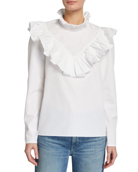 Image 2 of 3: Lafayette 148 New York Ashlyn Italian Sculpted Cotton Ruffle Blouse