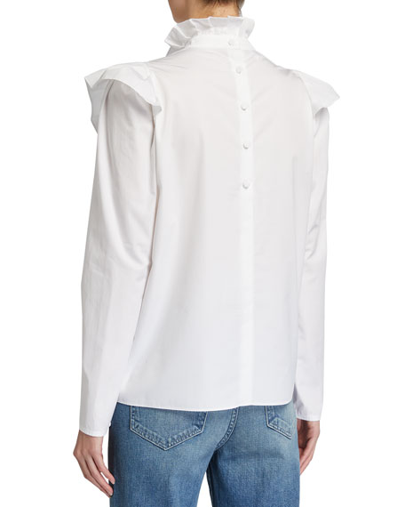 Image 3 of 3: Lafayette 148 New York Ashlyn Italian Sculpted Cotton Ruffle Blouse