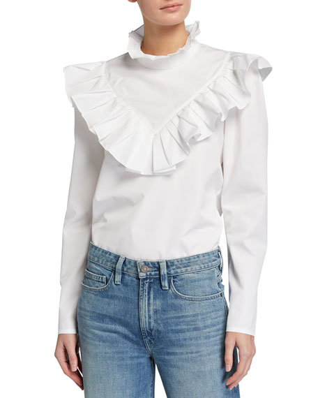 Image 1 of 3: Lafayette 148 New York Ashlyn Italian Sculpted Cotton Ruffle Blouse