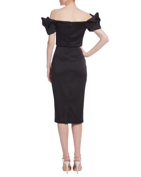 Image 2 of 2: Badgley Mischka Collection Loop Off-the-Shoulder Mikado Dress