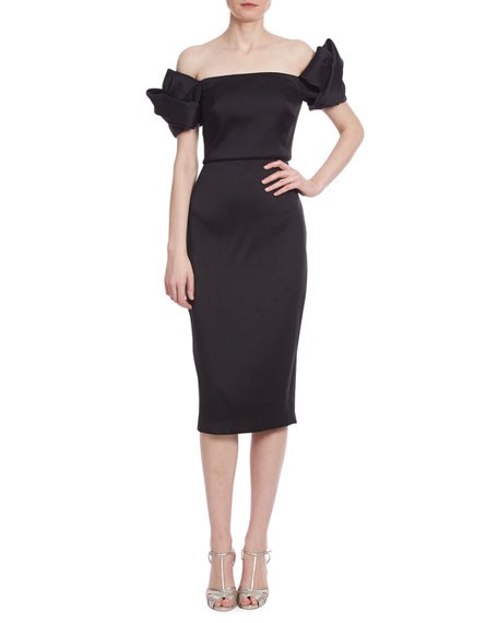 Image 1 of 2: Badgley Mischka Collection Loop Off-the-Shoulder Mikado Dress