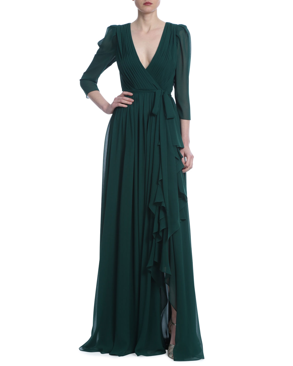 Badgley Mischka Collection 3/4-Sleeve Georgette Ruffle Gown