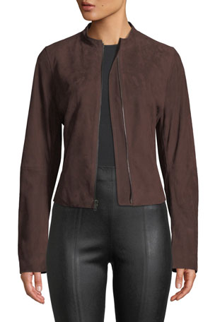 Vince Cropped Zip-Front Suede Moto Jacket $313.00