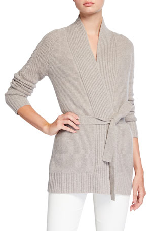 Neiman Marcus Cashmere Collection Belted Cable Sleeve Cashmere Cardigan
