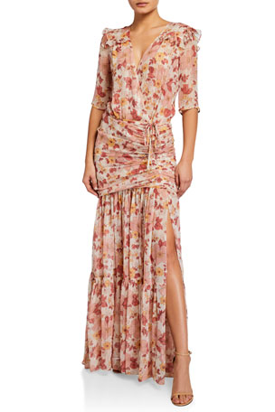 Veronica Beard Mick Ruched Floral-Print Long Dress