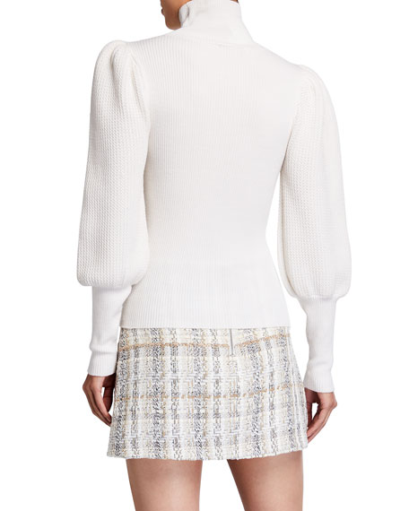 Image 2 of 2: Alice + Olivia Babette Turtleneck Puff-Sleeve Ribbed Pullover