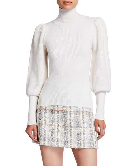 Image 1 of 2: Alice + Olivia Babette Turtleneck Puff-Sleeve Ribbed Pullover
