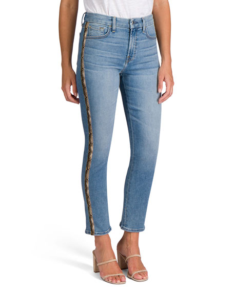 Image 2 of 5: Jen7 Ankle Straight Jeans with Snake Side