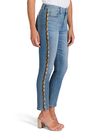 Image 3 of 5: Jen7 Ankle Straight Jeans with Snake Side