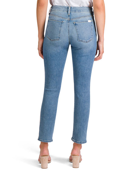 Image 4 of 5: Jen7 Ankle Straight Jeans with Snake Side
