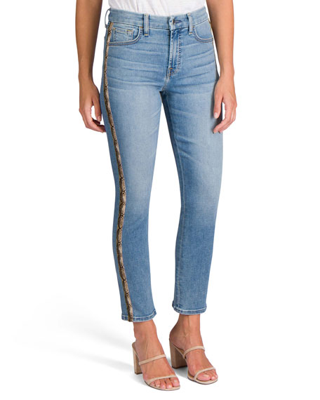Image 1 of 5: Jen7 Ankle Straight Jeans with Snake Side