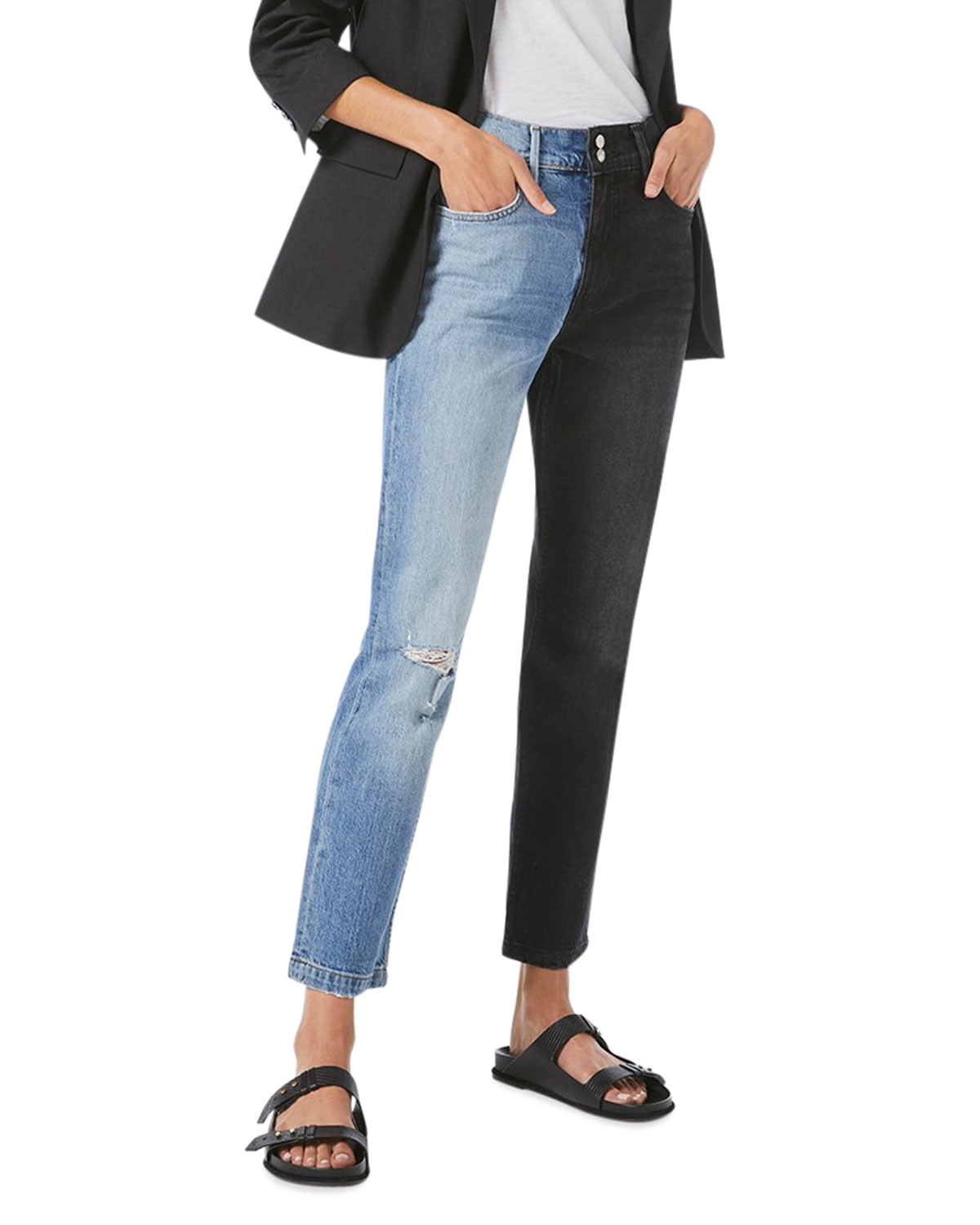 FRAME Le Sylvie Distressed Two-Tone Denim Jeans