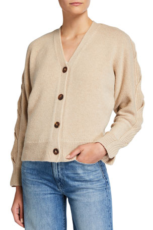 Lafayette 148 New York CASHMERE BRIADED SLEEVE CABL $798.00