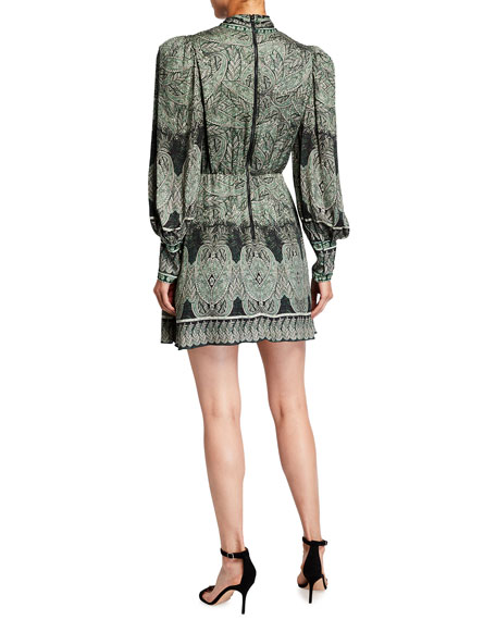 Image 2 of 2: Alice + Olivia Tanisha Bishop-Sleeve Tie-Neck Dress