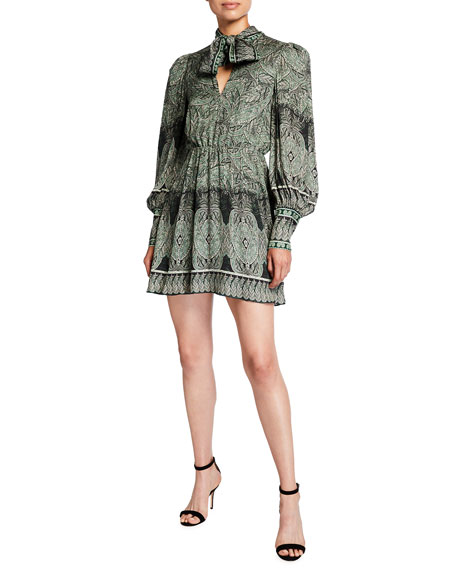Image 1 of 2: Alice + Olivia Tanisha Bishop-Sleeve Tie-Neck Dress