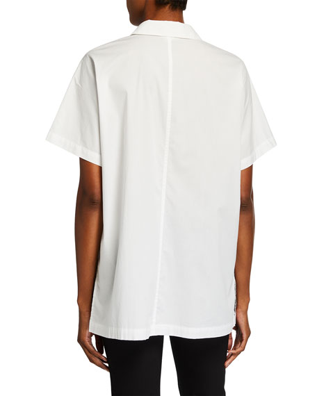 Image 2 of 2: Eileen Fisher Petite Short-Sleeve Organic Cotton Stretch Lawn Long Shirt