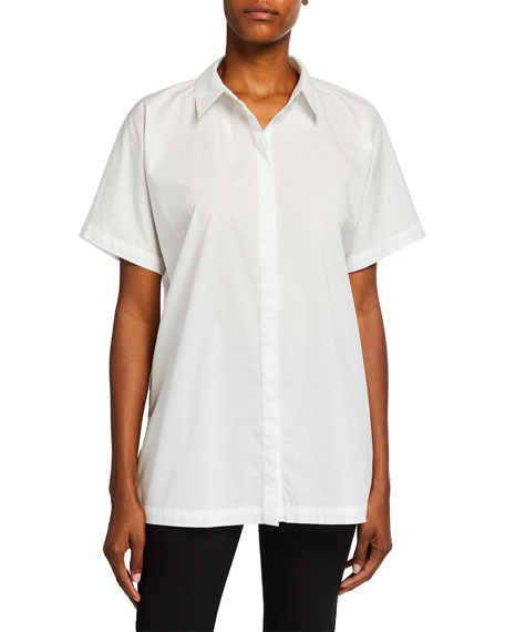 Image 1 of 2: Eileen Fisher Petite Short-Sleeve Organic Cotton Stretch Lawn Long Shirt