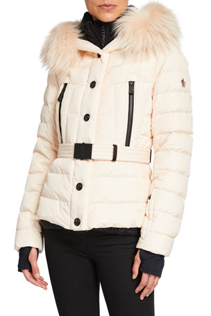 Moncler Grenoble Beverley Belted Puffer Coat w/ Fur Trim