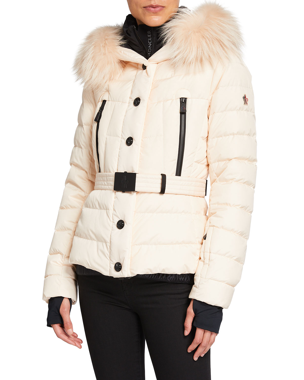 Moncler Beverley Belted Puffer Coat w/ Fur Trim