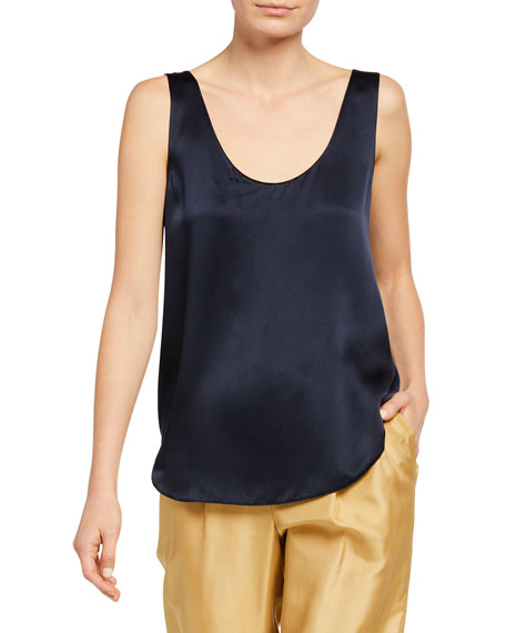 Image 1 of 2: Vince Scoop-Neck Satin Tank