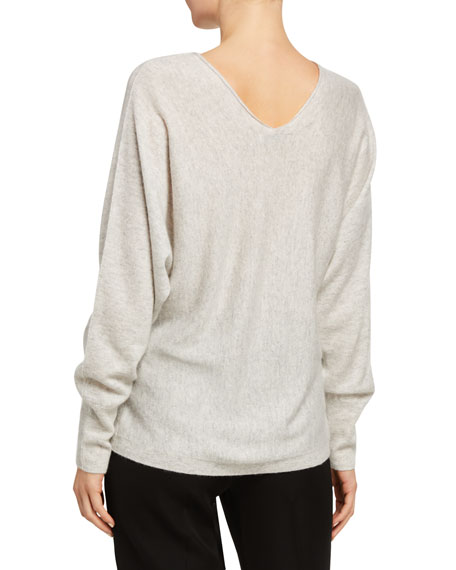 Image 2 of 2: Double V-Neck Cashmere-Linen Sweater