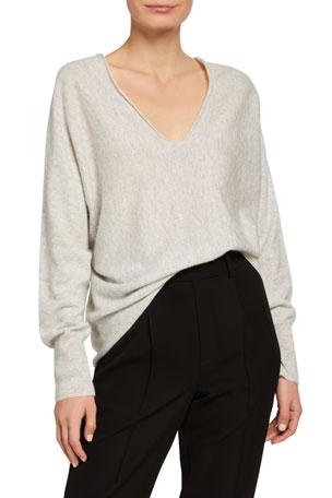 Vince Double V-Neck Cashmere-Linen Sweater