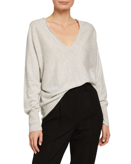 Image 1 of 2: Double V-Neck Cashmere-Linen Sweater