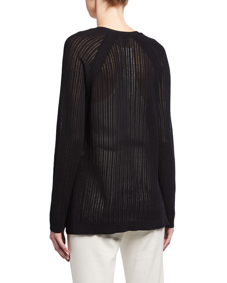 Image 2 of 2: Eileen Fisher Plus Size Organic Cotton Stretch Rib Textured Cardigan