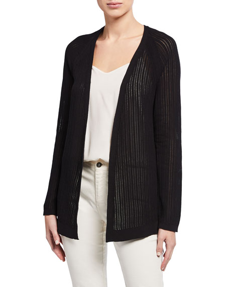 Image 1 of 2: Eileen Fisher Plus Size Organic Cotton Stretch Rib Textured Cardigan