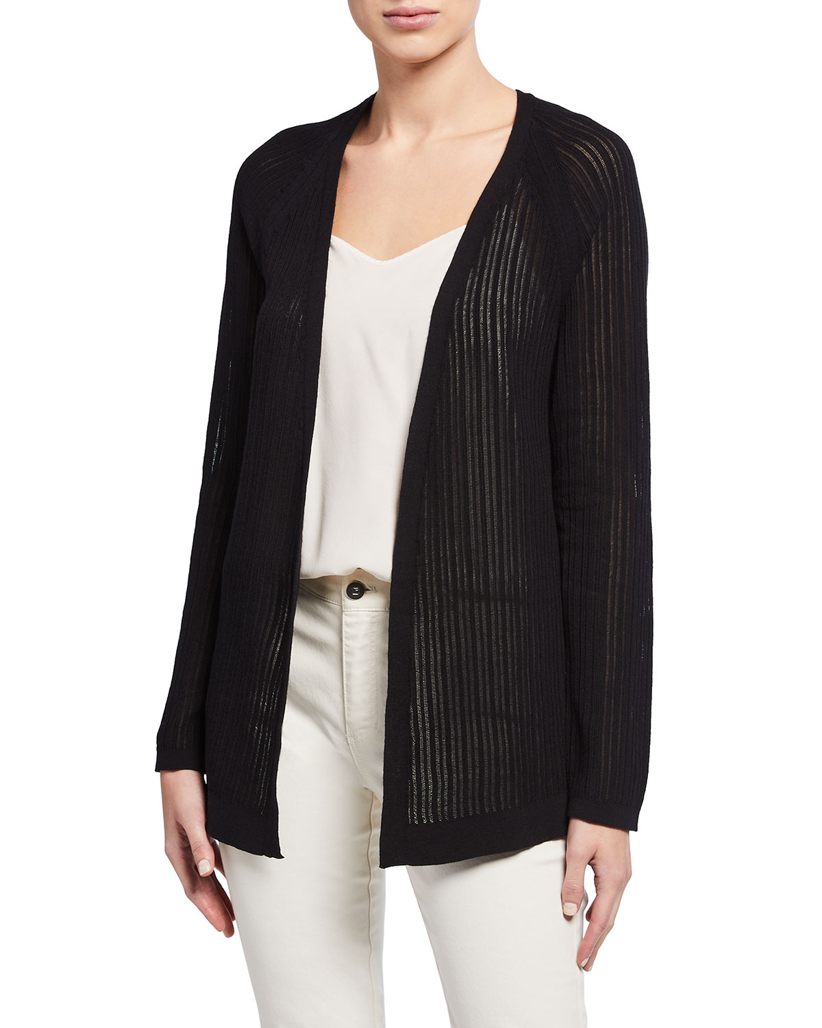 Eileen Fisher Plus Size Organic Cotton Stretch Rib Textured Cardigan
